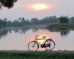 Cycling on river banks