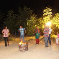 Enjoy campfire with family
