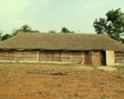 Kutcha house hut built with straw leaves mud wood, this structure maintains moderate temperature at all times