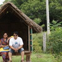 Natural huts built using straws and wood