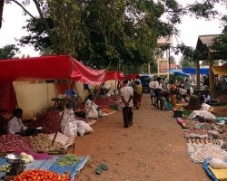 View of local fair, people selling variety of everyday essential items